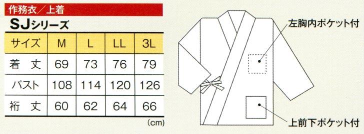作務衣のサイズ表