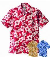 アロハシャツ(ハイビスカス柄) 男女兼用 3S~3L AZ-56102